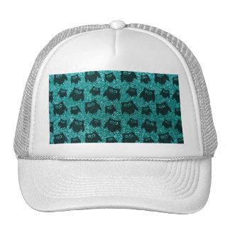 Robin egg blue owl glitter pattern trucker hats