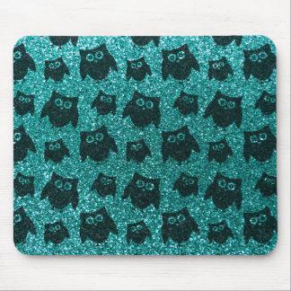 Robin egg blue owl glitter pattern mousepad