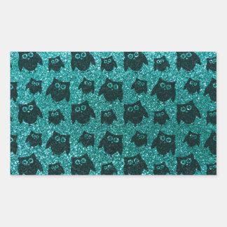 Robin egg blue owl glitter pattern rectangular sticker