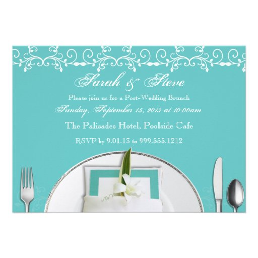 Robin Egg Blue Post Wedding Brunch Invites