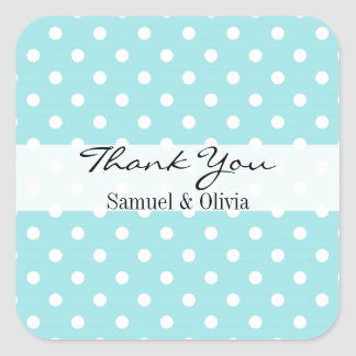 Robin Egg Blue Square Polka Dotted Thank You Square Sticker
