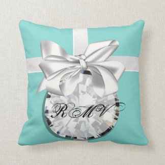 Robin Egg Blue White Ribbon Custom Monogram Pillow
