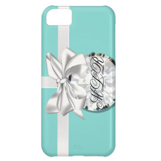Robin Egg Blue White Ribbon Monogrammed iPhone Case For iPhone 5C