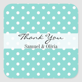 Robin Egg Green Square Polka Dotted Thank You Square Sticker