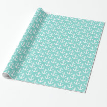 Robin Egg Turquoise White Nautical Anchors Pattern Wrapping Paper