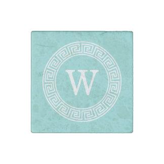 Robin Egg Wht Greek Key Rnd Frame Initial Monogram Stone Magnet