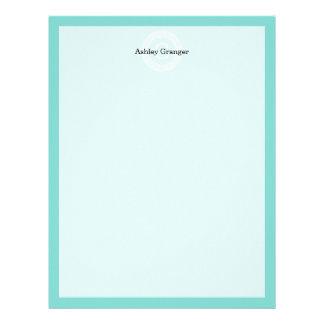 Robin Egg Wht Greek Key Rnd Frame Initial Monogram Letterhead