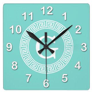 Robin Egg Wht Greek Key Rnd Frame Initial Monogram Square Wall Clock