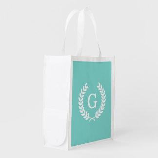 Robin Egg Wht Wheat Laurel Wreath Initial Monogram Reusable Grocery Bags