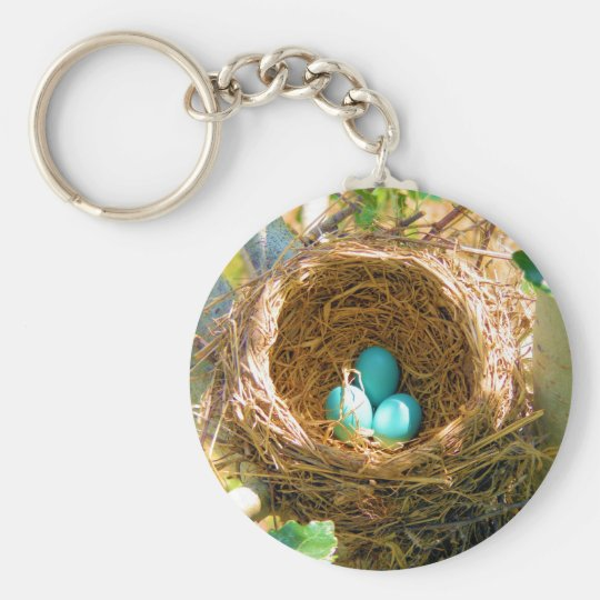 Robin Eggs in a Backyard Tree Nest Keychain