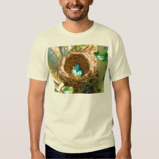Robin Eggs in a Backyard Tree Nest Tee Shirts