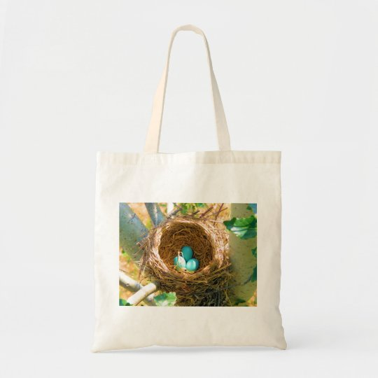 Robin Eggs in a Backyard Tree Nest Tote Bag