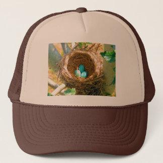 Robin Eggs in a Backyard Tree Nest Trucker Hat
