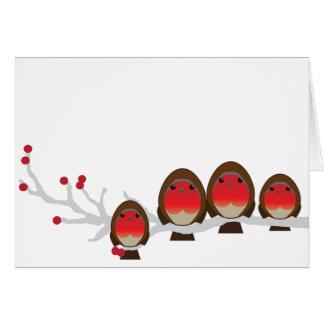 robin family of 4 CHRISTMAS greeting card gg