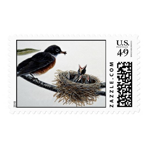 Robin feeding young postage stamp