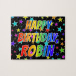 "[ Thumbnail: ""Robin"" First Name, Fun ""Happy Birthday"" Jigsaw Puzzle ]"