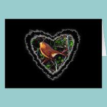 Robin Heart Valentine Romance Love Card