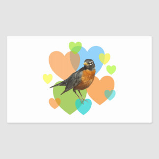 Robin Hearts Rectangle Stickers
