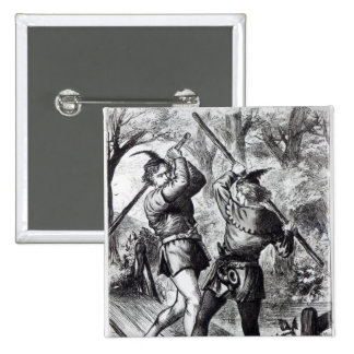 Robin Hood and Little John 2 Inch Square Button