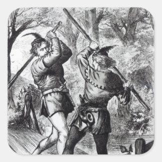Robin Hood and Little John Square Sticker