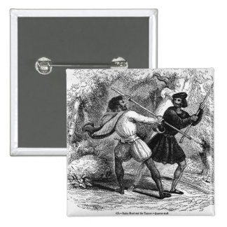 Robin Hood and the Tanner with Quarter-staffs 2 Inch Square Button