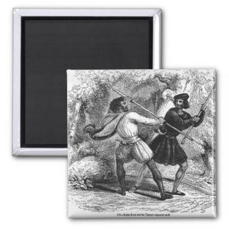 Robin Hood and the Tanner with Quarter-staffs Magnet