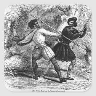 Robin Hood and the Tanner with Quarter-staffs Square Sticker