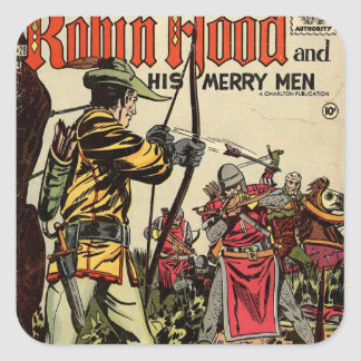 Robin Hood Comic Book Square Sticker