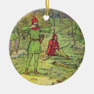 Robin Hood en el bosque Adorno Redondo De Cerámica