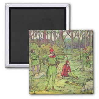 Robin Hood en el bosque Imán Cuadrado