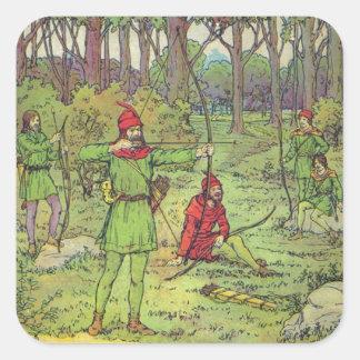 Robin Hood en el bosque Pegatina Cuadrada