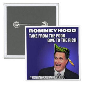 Robin Hood en Romneyhood reverso Pin Cuadrado