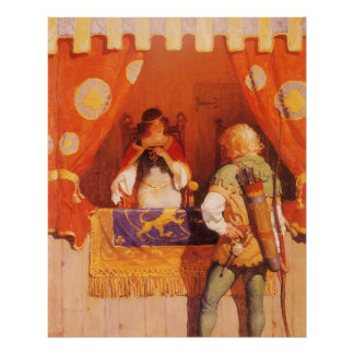 Robin Hood encuentra a la criada mariana por NC Wy Poster
