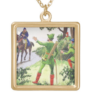 Robin Hood, from 'Peeps into the Past', published Gold Plated Necklace