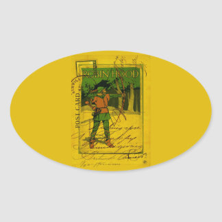 Robin Hood, His Bow and Arrow Oval Sticker