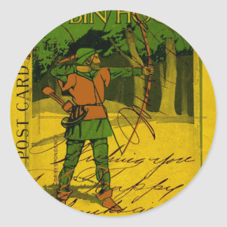 Robin Hood, His Bow and Arrow Round Stickers