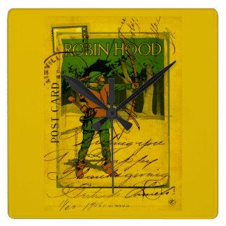 Robin Hood, His Bow and Arrow Square Wallclocks