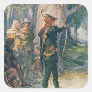 Robin Hood Pegatina Cuadrada