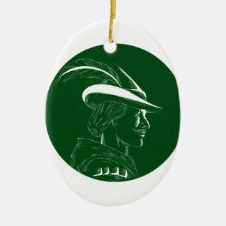 Robin Hood Side Profile Circle Woodcut Ceramic Ornament