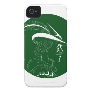 Robin Hood Side Profile Circle Woodcut iPhone 4 Case