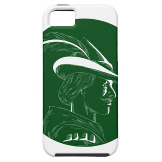 Robin Hood Side Profile Circle Woodcut iPhone SE/5/5s Case
