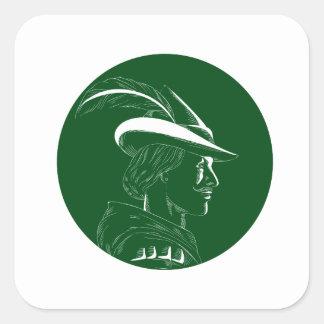 Robin Hood Side Profile Circle Woodcut Square Sticker