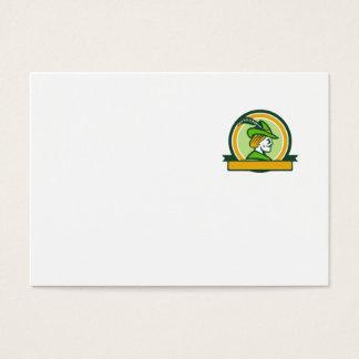 Robin Hood Side Ribbon Circle Retro Business Card