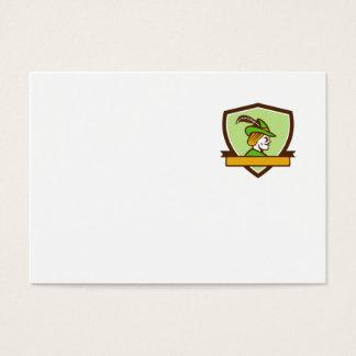 Robin Hood Side Ribbon Crest Retro Business Card