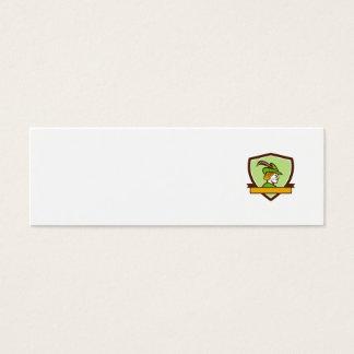 Robin Hood Side Ribbon Crest Retro Mini Business Card