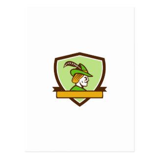 Robin Hood Side Ribbon Crest Retro Postcard