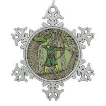 Robin Hood Snowflake Pewter Christmas Ornament
