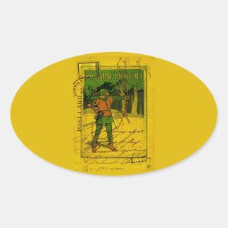 Robin Hood, su arco y flecha Pegatina Ovalada