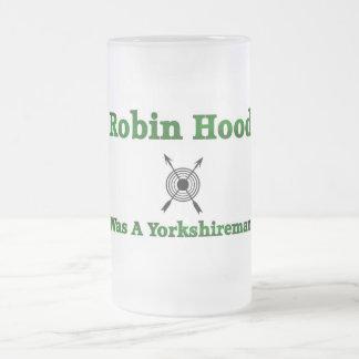 Robin Hood Was A Yorkshireman Frosted Glass Beer Mug