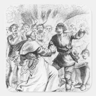 Robin Hood y el obispo Pegatina Cuadrada